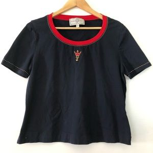 ST. JOHN Navy Blue with Beaded Neckline Tee Shirt